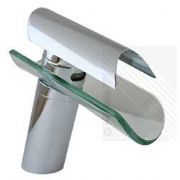 Designer Curved Waterfall Glass Basin Mixer Tap with Chrome Finish